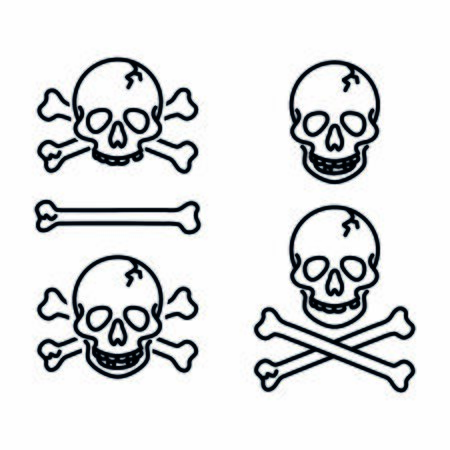 Skull, jolly roger, poison, piracy sign, danger sign, icon vector  イラスト・ベクター素材