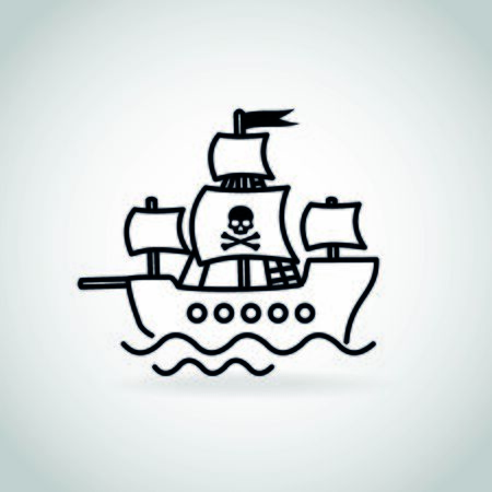 Pirate ship thin line style vector icon Illustration