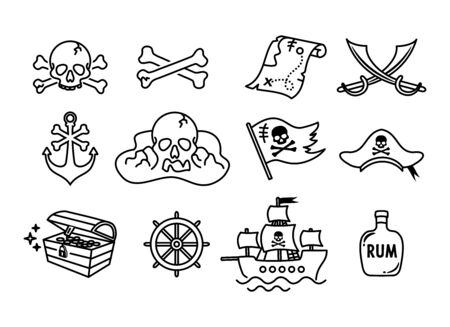 Collection of Pirate Icons vector set
