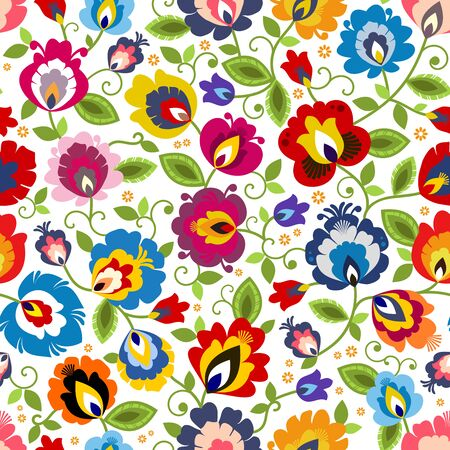 Beautiful Polish traditional floral folk pattern vector