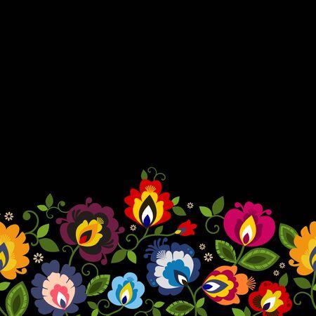 Beautiful Polish floral folk line seamless decoration vector Vektorové ilustrace