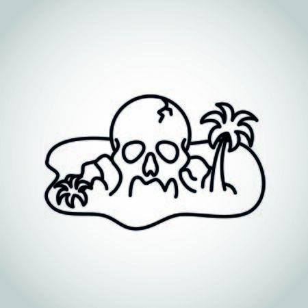 Pirate treasure island with a skull rock vector