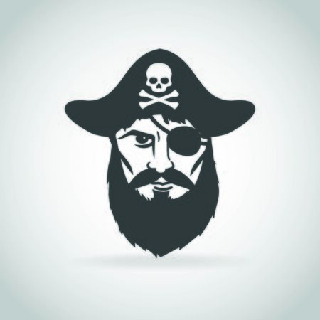 Pirate captain face icon vector Çizim