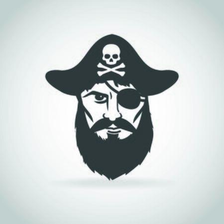 Piratenkapitän Gesicht Symbol Vektor Vektorgrafik