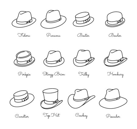 Types of male classic hats - vector thin line icon set Banque d'images - 132783042