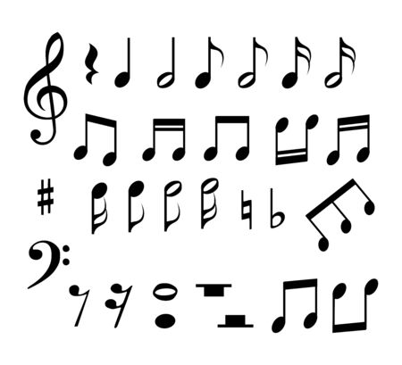 Set of music notes vector Stock Illustratie
