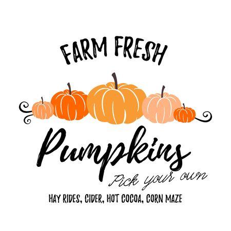 Farm Fresh Pumpkins vector illustration art