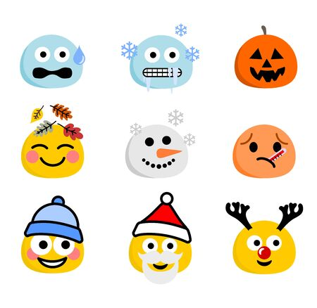 Autumn and winter collection of faces vector set