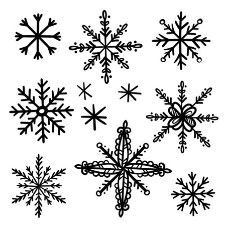 Hand drawn snow flakes vector collection  イラスト・ベクター素材