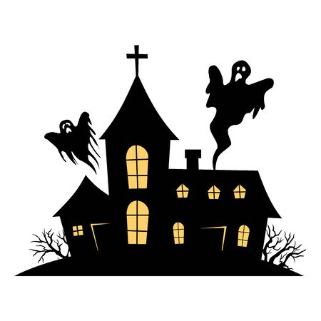 Haunted House vector sign with creepy house and shosts