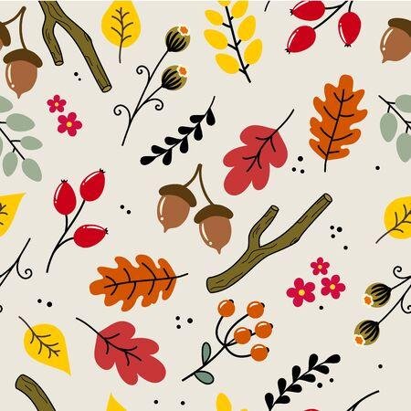Cute autumn, fall seamless vector pattern