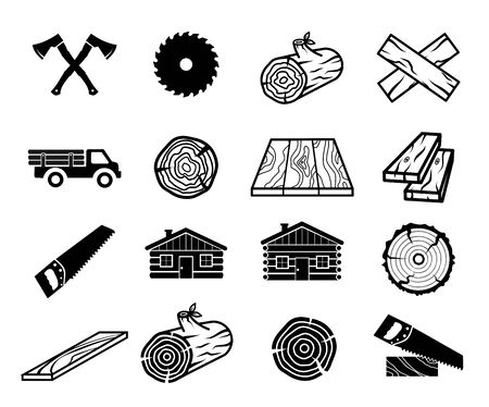 Wood and carpentry icon set vector collection  イラスト・ベクター素材