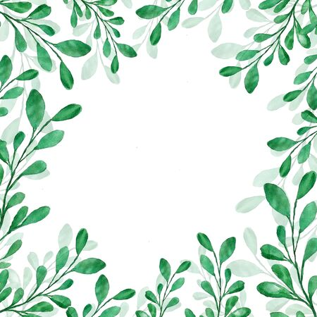 Beautiful watercolor decoration with green leaves, frame for invitations, print