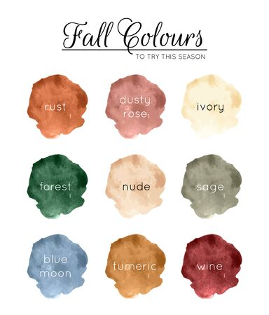 Fall Colors - color palette for autumn / fall made of watercolor stains Standard-Bild