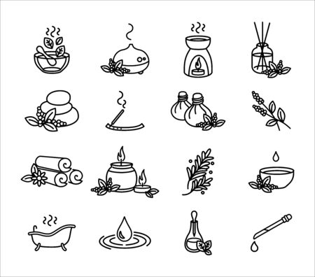 Aromatherapy and herbs vector icon set