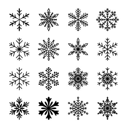 Christmas and winter snow flakes set vector, beautiful collection  イラスト・ベクター素材