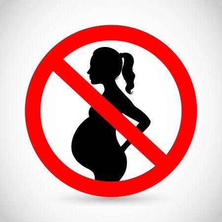 Pregnant woman forbidden sign vector