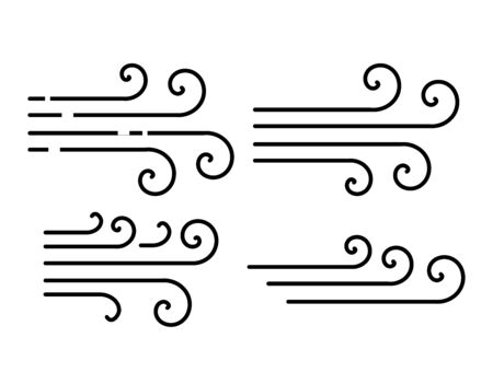 Set of wind thin line style icons vector Ilustração Vetorial