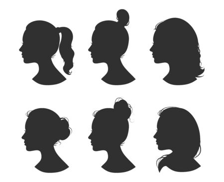 Beautiful collection of profile woman heand with different hairstyles vector