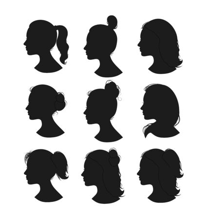 Beautiful collection of profile woman heand with different hairstyles vector Vecteurs