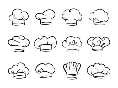 Conjunto de vector de sombrero de chef, colección Ilustración de vector
