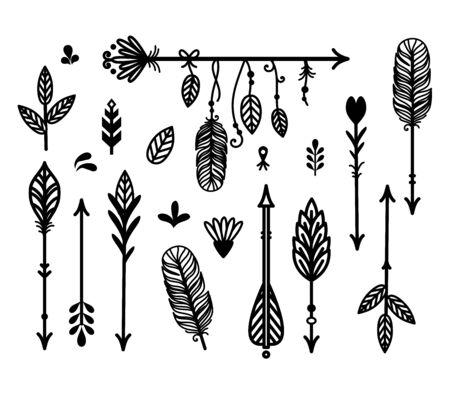 Beautiful boho, tribal vector elements set