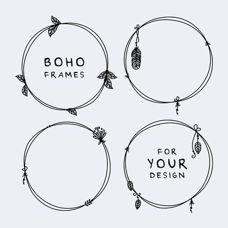 Beautiful set of boho, tribal round frames vector