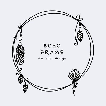 Beautiful boho frame with hanging feathers and leaves vector