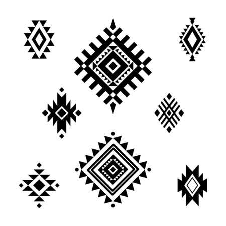 Aztec / Tribal shapes, symbols collection vector set Illustration