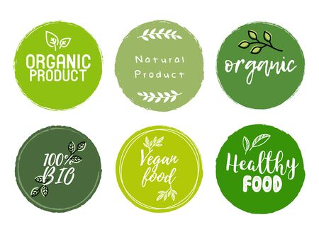 Set of Organic, Bio, Eco, Healthy Food Signs vector Illustration
