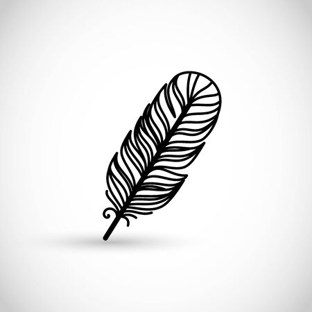Beautiful line style vector feather Illustration