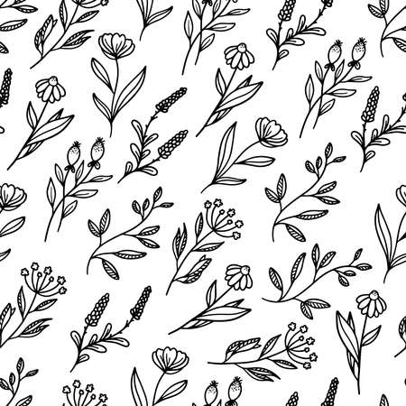 Beautiful hand drawn floral vector seamless pattern