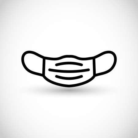 Face mask vector line icon Vectores