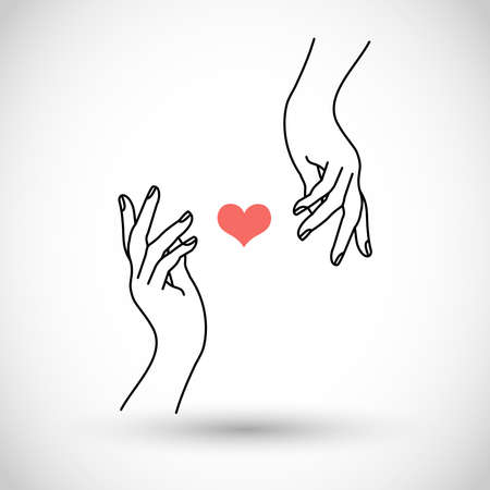 Hands with red heart vector icon
