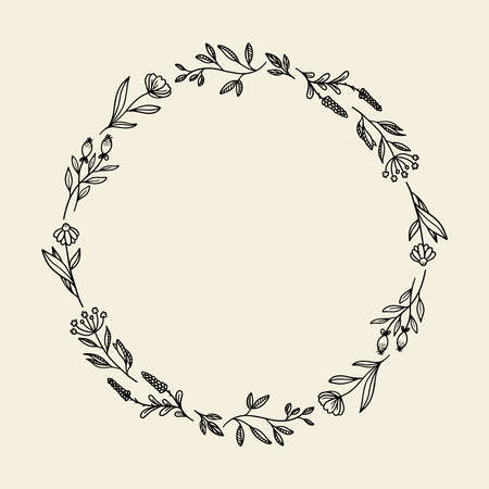 Rustic frame vector made of beautiful branches