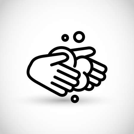 Hand washing line vector icon