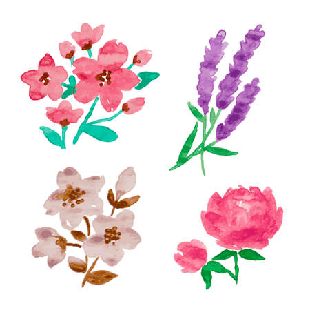 Beautiful set of watercolor hand drawn flowers vector Vectores