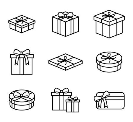 Gift boxes and presents icon set vector