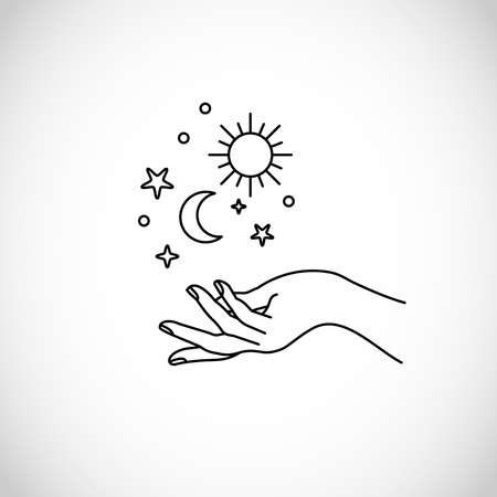 Boho, hipster vector art of hands with sun, moon and stars Ilustracja