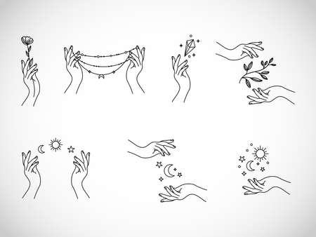 Abstract beautiful set of illustrations with hands vector Vectores