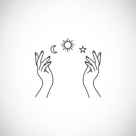 Boho, hipster vector art of hands with sun, moon and stars Stock fotó - 155564492