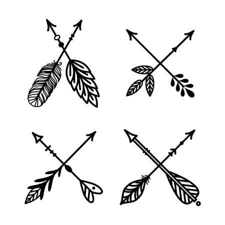 Arrows crossed, boho, tribal style vector set