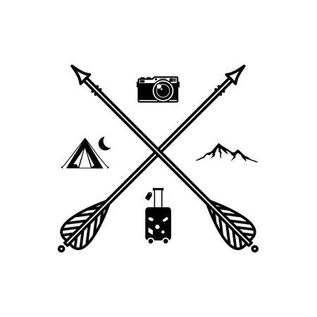 Beautiful boho, hipster illustration with crossed arrows and interests, hobbies vector