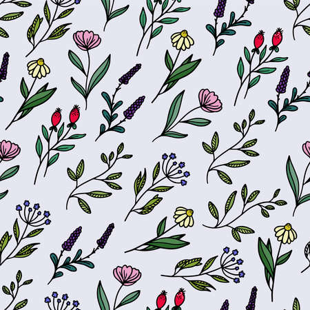 Beautiful colorful hand drawn floral seamless pattern vector