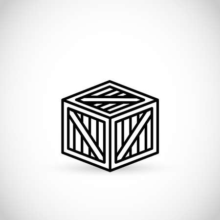 Pallet box vector thin line style icon