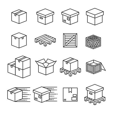 Set of boxes and packaging vector icon set