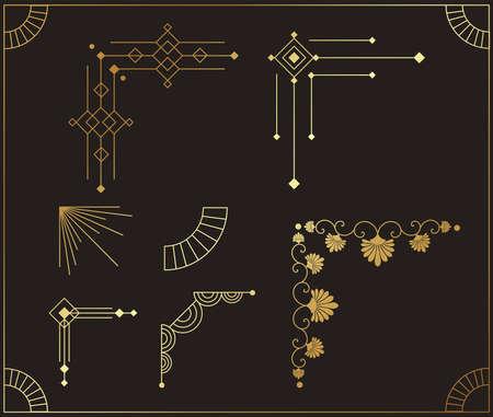 Art deco beautiful corners set vector