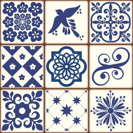 Blue Portuguese tiles pattern - Azulejos vector, fashion interior design tiles Foto de archivo - 155077153