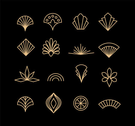 Beautiful set of Art Deco, palmette ornates from 1920s fashion and design trends vector