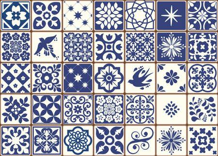 Blue Portuguese tiles pattern - Azulejos vector, fashion interior design tiles